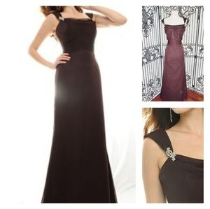 Floor Length Chiffon Gown in Chocolate